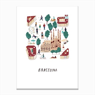 Barcelona City Print Canvas Print