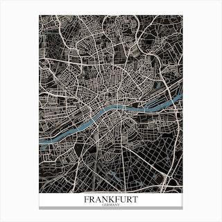 Frankfurt Black Blue Canvas Print