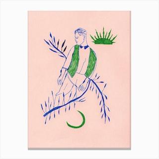 Green Boy   Midcentury Canvas Print