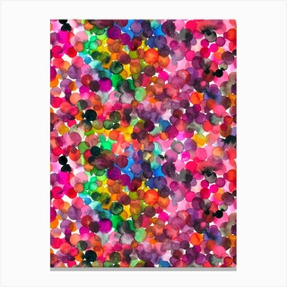 Overlapped Watercolor Dots Canvas Print