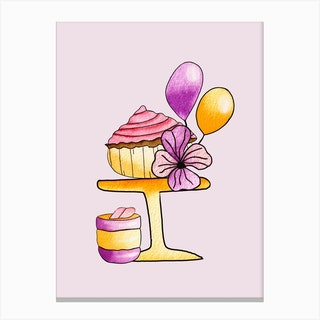 Gold And Purple Party Cupcakes Canvas Print