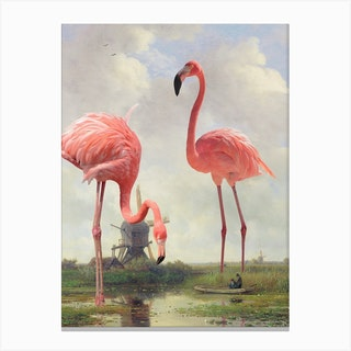 Fishing With Flamingos Canvas Print