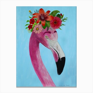 Frida Kahlo Flamingo Canvas Print
