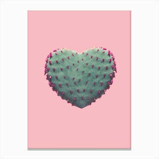 Cacts Heart Print Canvas Print
