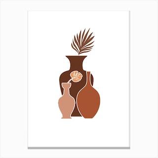 Three Brown Vases Canvas Print