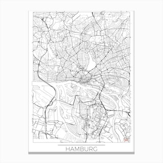 Hamburg Map Minimal Canvas Print