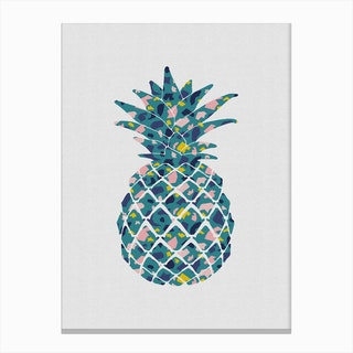 Pineapple Teal Canvas Print