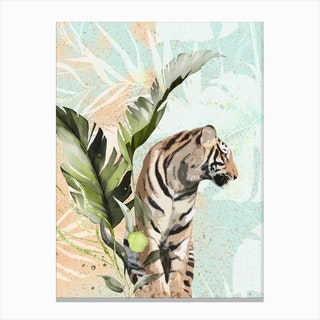 Tiger With Leaf Canvas Print