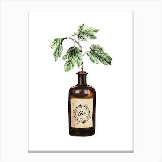 Glass Gin Bottle Vase Canvas Print