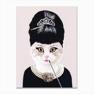 Audrey Hepburn Cat Canvas Print