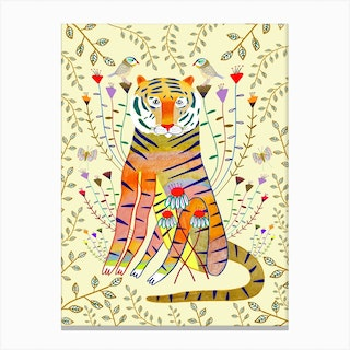 Tiger Gold Leaves Canvas Print