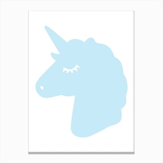 Blue Unicorn Silhouette Head Canvas Print