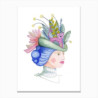 Woman With Leo Hat Canvas Print