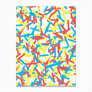 Confetti Party Red Yellow Blue Canvas Print