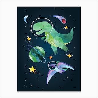 Watercolour Space Dinosaur T Rex Canvas Print