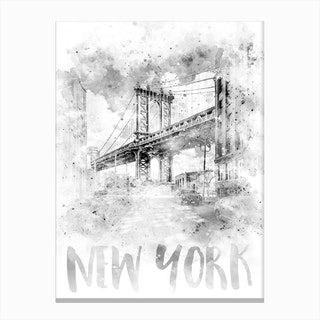 Watercolor Art Nyc Manhattan Bridge Canvas Print