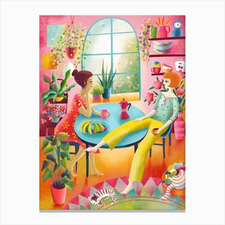 Sunny Kitchen Coffee Chat Canvas Print