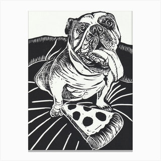 English Bulldog With Pizza Canvas Print