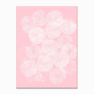 Radial Block Print In Pink Canvas Print