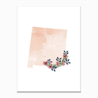 New Mexico Watercolor Floral State Canvas Print