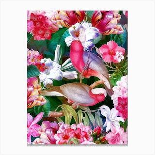 Tropical Luminous Pink Vintage Parrot Jungle Garden Canvas Print