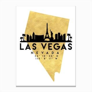 Las Vegas Nevada Silhouette City Skyline Map Canvas Print