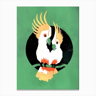 Two Cockatoos In Love Green Canvas Print
