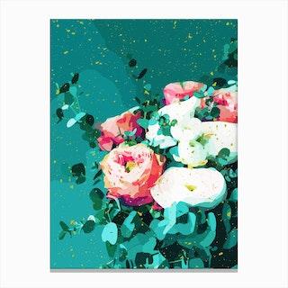 Floral And Confetti Canvas Print