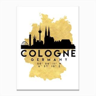 Cologne Germany Silhouette City Skyline Map Canvas Print
