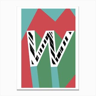 W Geometric Font Canvas Print