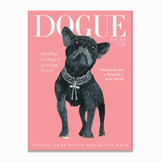 Fashion Frenchie Dogue Pink Canvas Print