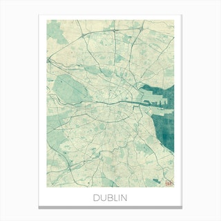 Dublin Map Vintage in Blue Canvas Print