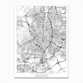 Madrid Map Minimal Canvas Print