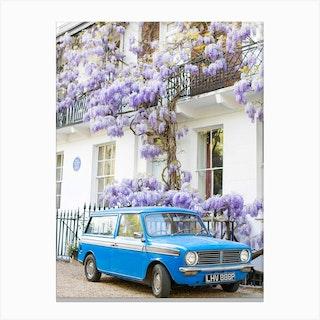 Blue Car Wisteria London Canvas Print