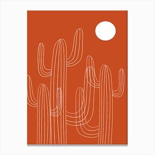 Orange Cactus Desert Canvas Print