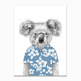 Summer koala (blue) Canvas Print