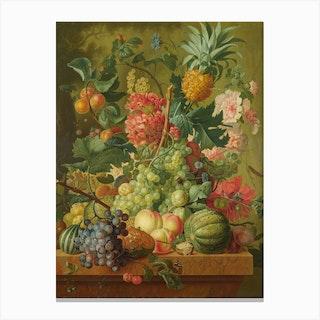 Fruit And Flowers, Paulus Theodorus van Brussel Canvas Print