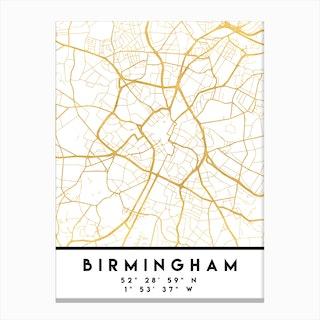 Birmingham England City Street Map Canvas Print