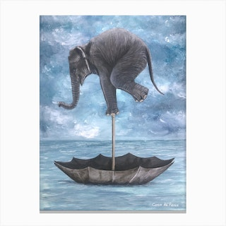 Elephant In Balance Canvas Print
