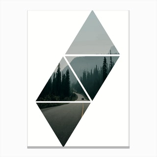 Forest Triangles Window Canvas Print