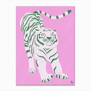 Tiger Doesnt Lose Sleep Pink And Green Canvas Print