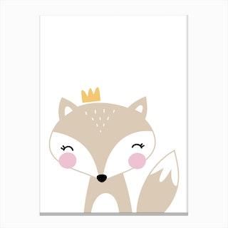 Scandi Beige Fox With Crown Canvas Print