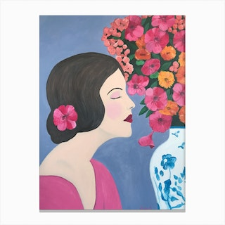 Woman With Chinoiserie Vase And Flowers Canvas Print