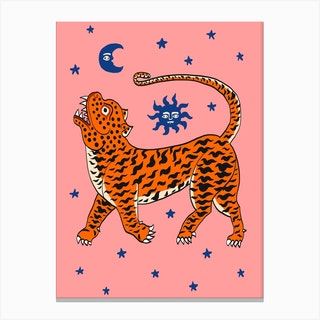 Tiger Temple Stars Pink Canvas Print