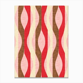 Mod Lines Red Canvas Print