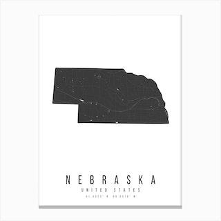 Nebraska Mono Black And White Modern Minimal Street Map Canvas Print