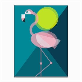 Mid Century Geometric Flamingo Canvas Print