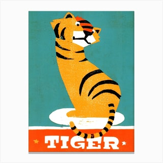Tiger Illustration And Typography Canvas Print