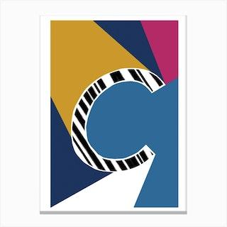 C Geometric Font Canvas Print