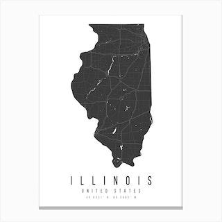 Illinois Mono Black And White Modern Minimal Street Map Canvas Print